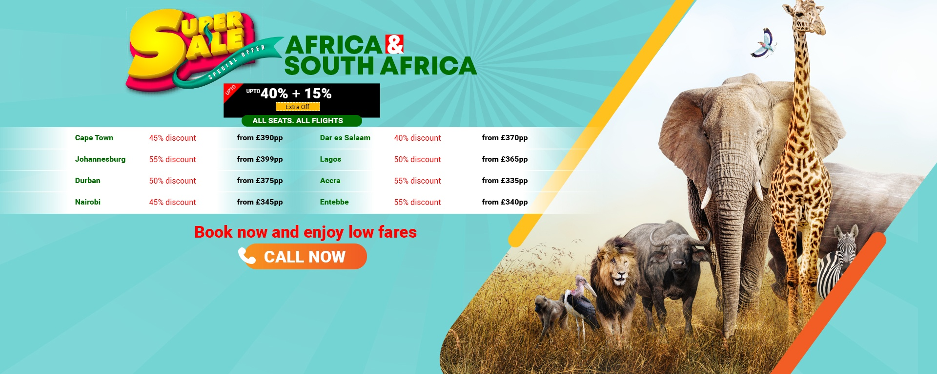 Africa and South Africa Flight Sale